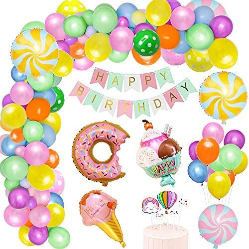 Decoraciones para fiesta de cumpleaños de caramelo, suministro de fiesta de cumpleaños de donut, pancarta de feliz cumpleaños, decoración para tarta, globo de papel de helado de donut de caramelo
