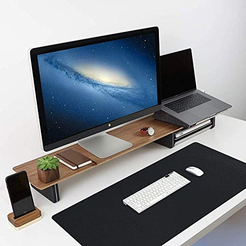 iLeadon Desk Pad Office Desk Mat, 35.4' x 15.7' Desk Blotter Protector, Laptop Keyboard Gaming Mouse Pad, PU Leather Waterproof Large Desk Writing Pad Organizer Accessories for Home Office, Black