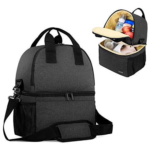 Teamoy Breast Pump Bag Tote with Cooler Compartment for Breast Pump, Cooler Bag, Breast Milk Bottles and More, Double Layer Pumping Bag for Working Moms, Black(Bag Only)