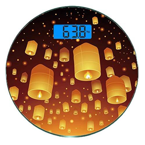 Bilancia digitale di precisione tondo Lanterna Misurazioni accurate del peso della bilancia pesapersone in vetro ultra sottile,Loy Krathong e Yi Peng Festival Thailand Culture Vecchie celebrazioni tra