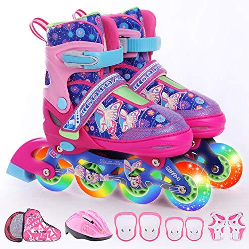 DLBJ Patines en línea para niños, ajustables con ruedas iluminadas para principiantes, divertidos patines iluminadores para niños y niñas, 3 tamaños, M