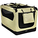 Amazon Basics Premium Folding Portable Soft Pet Dog Crate Carrier Kennel - 36 x 24 x 24 Inches, Khaki