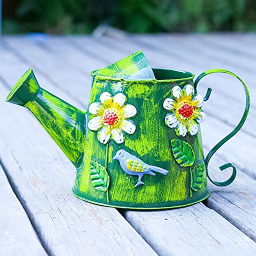Zunruishop gietijzeren pot pot voor binnen en buiten, tuingereedschap (groen)