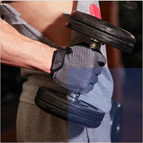 Gants d'entraînement de fitness pour homme avec demi-doigt antidérapant respirant pour femme avec barre horizontale et section fine.