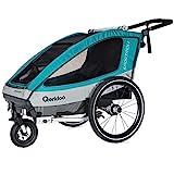 Qeridoo Sportrex1 (2018) Kinder-Fahrradanhänger für 1 Kind (mit Einstellbarer Federung) - aquamarin