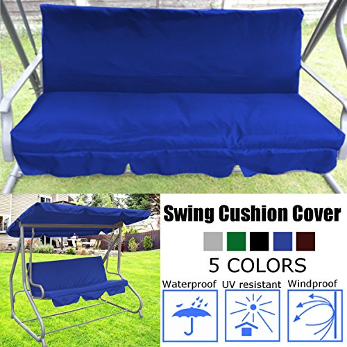 dDanke 150X50X10cm Water Resistant 3 Seater Swing Seat Bench Cushion Cover for Outdoor Garden Hammock, Cushion not Included (Blue)