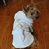 Doggie Design White 100% Cotton Turkish Terrycloth Cotton Dog Bathrobe with Embroidered Gold Crown