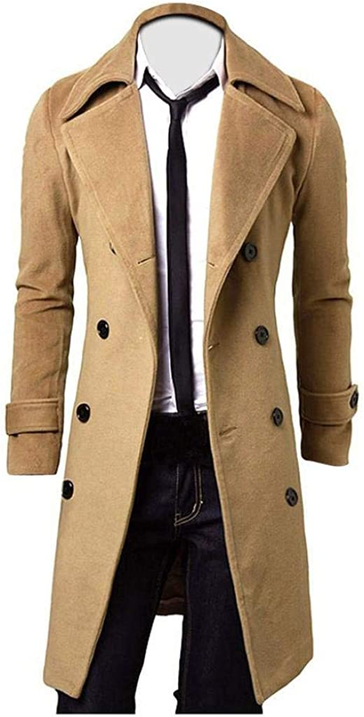 Forthery Winter Clearance Men's Trench Coat Winter Long Jacket Double Breasted Overcoat