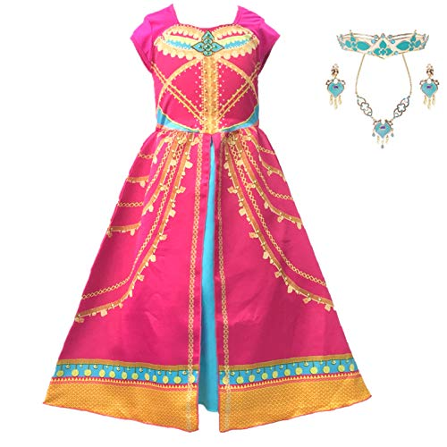 AOGD - Disfraz de princesa de jazmn para nia, disfraz de princesa, disfraz de nia, disfraz de princesa, Halloween, Navidad, fiesta de disfraces, disfraz de corona, pendientes