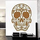 Aayuj Etiqueta de la pared Diseño del tatuaje Cara de azúcar Cráneo Vinilo Vinilo Mural Arte Etiqueta de la pared Decoración de la habitación Hogar Patrón Floral Mural de la pared Tamaño: 43x58cm