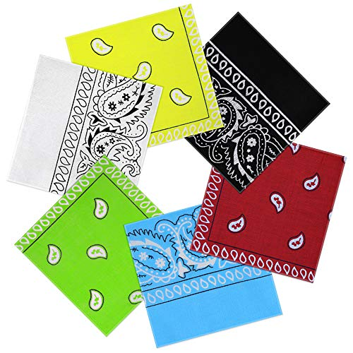 Nasharia Bandana Kopftuch 100% Baumwolle, 6-12 Pack Paisley Bandana Halstuch 55 x 55 cm Kopftuch Armtuch Mischfarben Haar, Hals, Kopf Schal Nickituch Vierecktuch