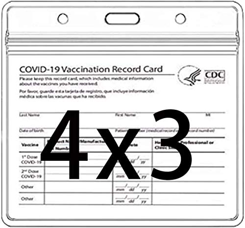 Health Card ID Card Protective Case Waterproof PVC Soft Card Case-Card Protector 4 X 3 in Health ID Card Name Tag Badge Cards Holder Clear Vinyl Plastic Sleeve with Waterproof Type Resealable Zip (5)