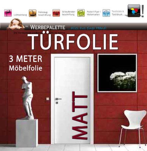 De reclameette (EUR 6,14/vierkante meter) 3 M x 122 cm deurfolie meubelfolie mat deco plotterfolie + wit + plakfolie (EUR 5,44/vierkante meter)