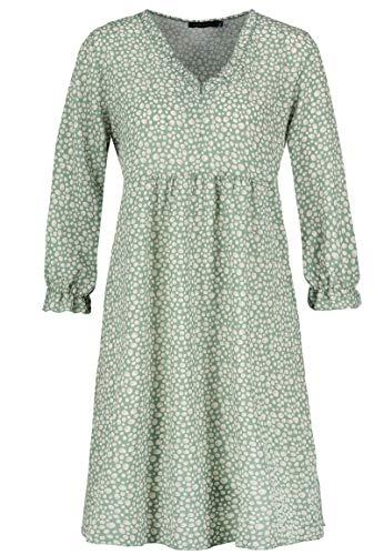 Sublevel Damen Kleid mit Punkten Muster Print Langarm Green M/L