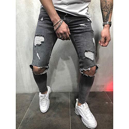 Designer Slim Fit Zerrissene Jeans Hose Herren Hi-Street Herren Distressed Denim Jogger Knielöcher Gewaschen Zerstörte Jeanshose L Grau