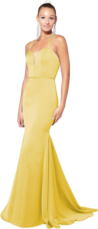 Women's Trumpet/Mermaid Halter Satin Prom Dress Long Open Back Formal Evening Gown