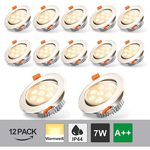 Hengda Foco Empotrable Led 12 × 7W LED Luz de Techo Blanco Cálido 3200K 560LM Downlight IP44 Para el Baño Sala de Estar Pasillo Galería Oficina