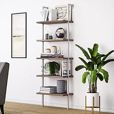 Nathan James 65502 Theo Wood Ladder Bookshelf, Bookcase, Warm Walnut