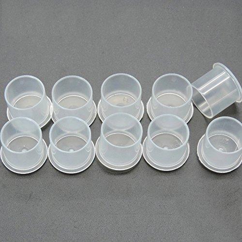 ddellk - 100 vasos de plástico transparentes de tamaño mediano para tatuajes de maquillaje permanentes, tapas de pigmento, tatuajes de colores