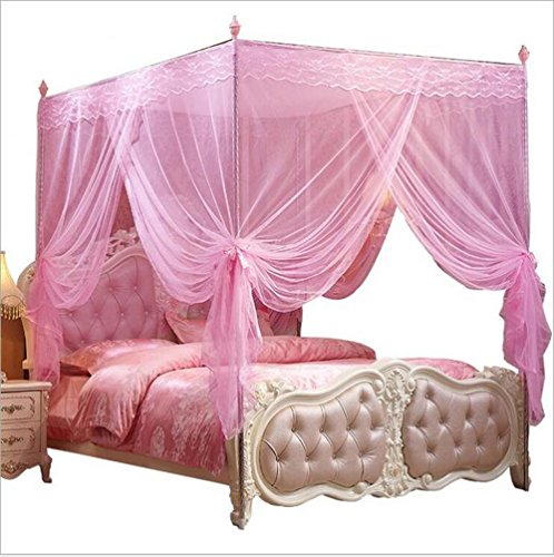 Nattey 4 Corners Post Pink Canopy Bed Curtain for Girls & Adults - Cute Cozy Drape Square Netting - 4 Opening - Princess Bedroom Decoration(Twin, Pink)