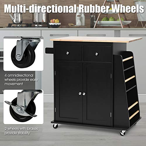 Giantex Kitchen Island Cart, Rolling Wood Trolley with Storage Cabinet, Towel Handle, 2 Drawers, Side Spice Rack and Wine Bottle Rack, Kitchen Cart on Wheels, Rubber Wood Countertop (Black)