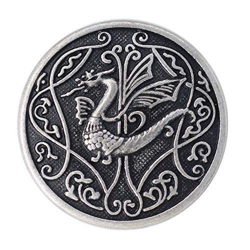 Bezelry 12 Pieces Celtic Flying Dragon Metal Shank Buttons. 25mm (1 inch) (Antique Silver)