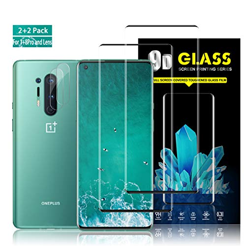 Oneplus 8 Pro Screen Protector + Camera Lens Protectors by YEYEBF, [4 Pack] Full Coverage Tempered Glass Screen Protector for Oneplus 8 Pro 5G [Case-Friendly] [3D Glass] [Anti-Scratch]