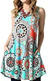 Luranee Tunic Dresses for Women, Ladies Sleeveless Summer Dress Knee Length A Line Cool Tropical Floral Fancy Beach Vacation Holiday Knit Clothing Semi Formal Apparels Light Green Large
