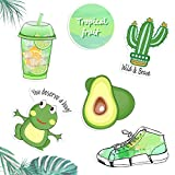 HORIECHALY Avocado Green Vinyl Sticker Series, Decal for Laptop MacBook Computer Phone Pad,Fresh and Elegant Emerald Cacti,Lemon Drinks, Perfect Decal in Summer!