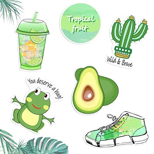 Avocado Green Vinyl Sticker Series, Decal for Laptop MacBook Computer Phone Pad,Fresh and Elegant Emerald Cacti,Lemon Drinks, Perfect Decal in Summer!