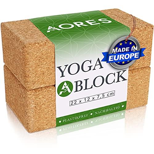 Aores Yoga Block - Bloque de corcho para yoga (2 unidades, 100% corcho natural, incluye libro electrónico, fabricado en Europa, ecológico)