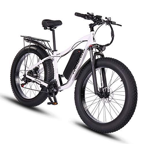 e Bike Mountainbike ebike Herren Damen 26 Zoll 1000W 48V 16Ah Fatbike (Weiß)