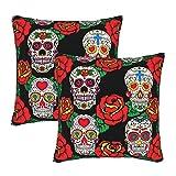 KENADVI Fundas de Almohada Mexican Sugar Skulls and Roses Funda de Almohada Decorativa Funda de cojín acogedora Funda de Almohada Cuadrada para el hogar Sala de Estar Cama Sofá 16x16 2PC