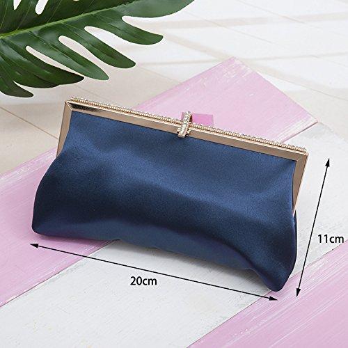 telinbu Damen-Kette mit Tasche, mit Tasche, Single-Kreuz-Griff., marineblau