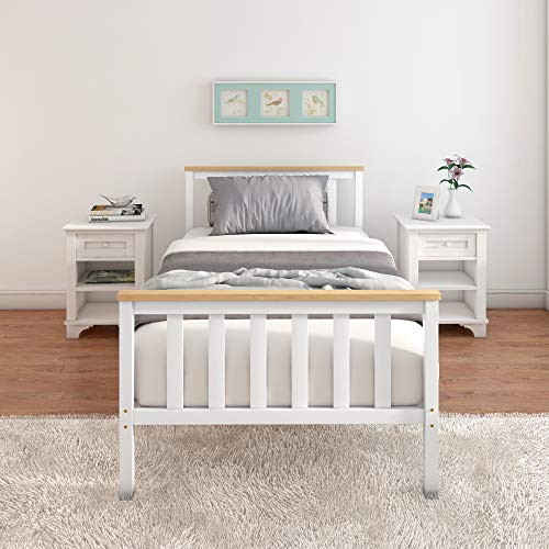 Panana Single Bed Frame 3FT Bedstead Kids Child Bedroom (White+Natural)