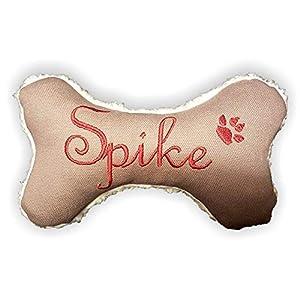 Hunde Spielzeug Kissen Knochen Hundeknochen Quitscher taupe Größe XXS XS S M L XL oder XXL mit Name Wunschname…