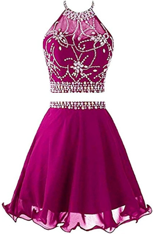 FWVR Women's Halter Sequins 2 Piece Homecoming Dresses Short Prom Dress