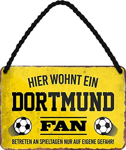 Blechschilder Hier wohnt EIN Dortmund Fan/Offizieller Dortmund Fan/Ich Bin Dortmund Fan Deko Metallschild Schild Artikel Geschenk zum Geburtstag oder Weihnachten (Gelb (18x12))