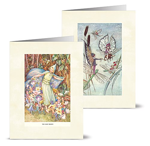 Note Card Cafe All Occasion Cards with Off White Ivory Envelopes | 36 Pack | Vintage Fairies Design Assortment | Blank Inside, Glossy Finish | Greeting, Bulk
