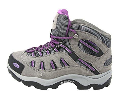 HI-TEC Women's Bandera Mid-Rise Waterproof Hiking Boot (9 B(M) US, Grey/Viola)