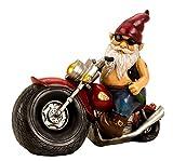 Lifestyle & More Cooler Zwerg auf Einem Motorrad aus Keramik Mehrfarbig Höhe 28 cm Breite 35 cm