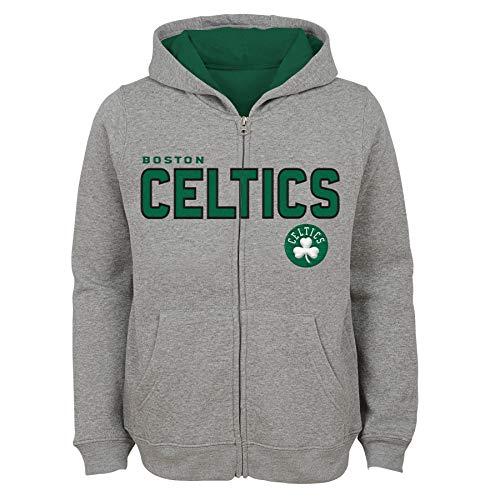 NBA by Outerstuff NBA Kids & Youth Boys Boston Celtics 'Stated' Full Zip Fleece Hoodie, Heather Grey, Kids Medium(5-6)