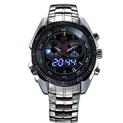 XKC-watches Herren- und Damenuhren, TVG Edelstahl Uhr Digital Sport LED Uhr Männer 30M Dual Movements wasserdichte Uhren