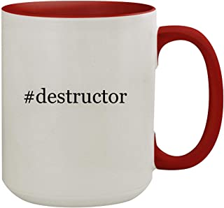 #destructor - 15oz Hashtag Colored Inner & Handle Ceramic Coffee Mug, Red