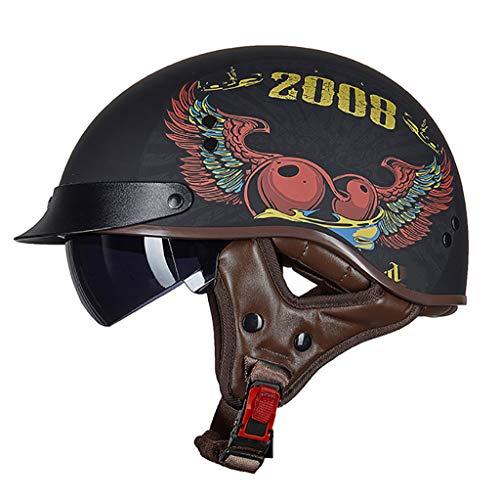 FANGJIA-Helmet Adulto Motocicleta Medio Casco Retro Cara Abierta Beanie Medio Casco Certificación Dot Hombres y Mujeres Montando Scooter Bicicleta Casco eléctrico (55-62cm)