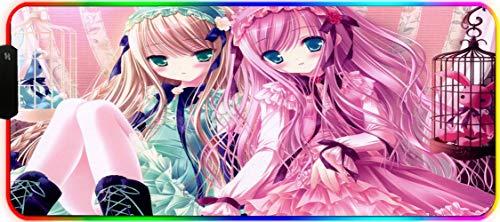 DEESYG RGB Alfombrilla de Ratón Gaming -XXL (900 x 400 x 3mm),12 Modos Efectos de Luces,Superficie Texturizada Suave y Base Antideslizante para Gamers,PC y Portátil -Chica Lolita Rosa Azul