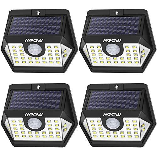 Mpow Lampe Solaire 30 LED avec Détecteur de Mouvement Temps d'éclairage 30s, Spot Solaire Eclairage Exterieur Etanche IP65 pour Jardin, Maison, Garage, Cour, Mur, Escalier, Patio (4 Pack)