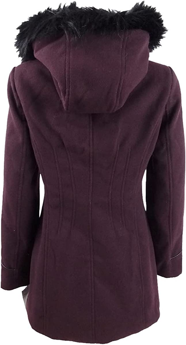 Maralyn & Me Juniors' Asymmetrical-Zip Faux-Fur-Trim Hooded Coat