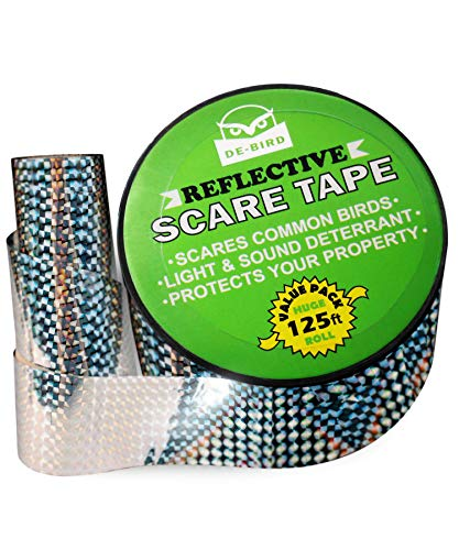 De-Bird Scare Tape - Reflective Tape Outdoor to Keep Away Woodpecker, Pigeon, Grackles, and More. Stops Damage, Roosting, and Mess (125ft Roll)