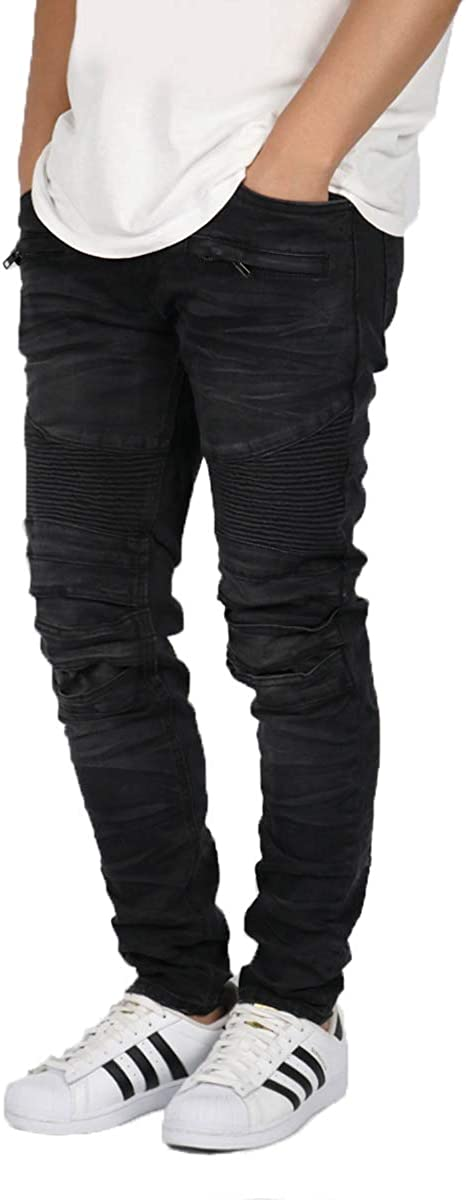 URBANJ 大特価 Men's セール特別価格 Skinny Fit Stretch Denim Biker Jeans